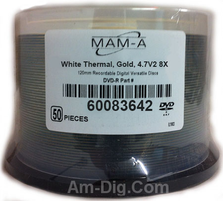 MAM-A 83642 GOLD DVD-R 4.7GB White Thermal Cakebox from Am-Dig