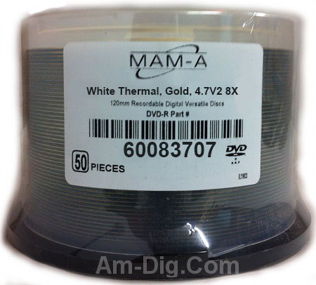 MAM-A 83703 GOLD DVD+R 4.7GB White Thermal Cakebox from Am-Dig