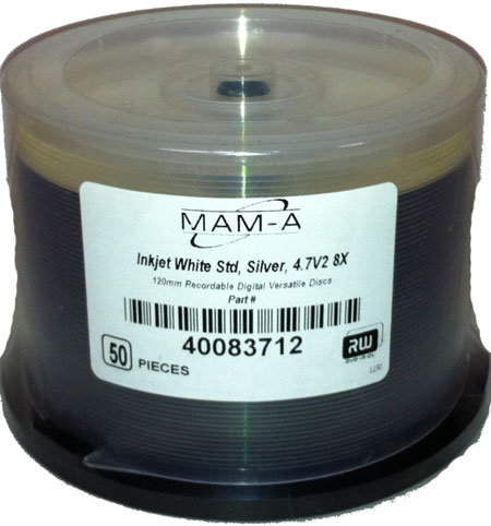 MAM-A 83712: DVD+R 8.5GB InkJet White Dual Layer from Am-Dig