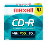 Maxell CD-R, 700mb, 48x, 80 min, Branded, Slim Jewel, 1