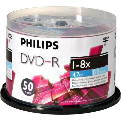 Philips Logo DVD-R 8x 4.7GB in 50 Packs from Am-Dig