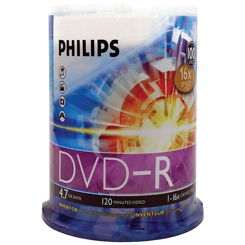 Philips DVD-R 16x 4.7GB in 100 Cakebox from Am-Dig