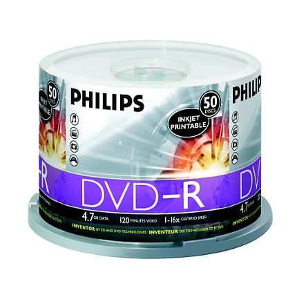 Philips DM4I6B50F/17 DVDR 16x White Inkjet Cakebox from Am-Dig