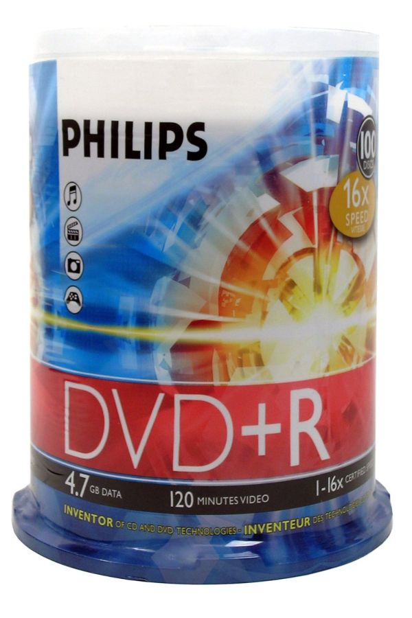 Philips DR4S6B00F/17 DVD+R 16x 100-Cakebox from Am-Dig