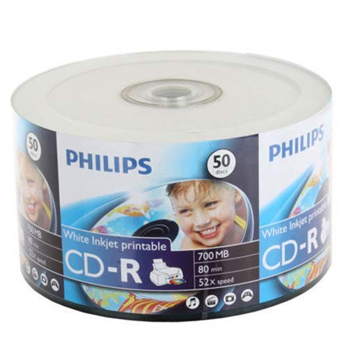 Philips CD-R White Inkjet Logo On Hub 50 Bulk Pack from Am-Dig