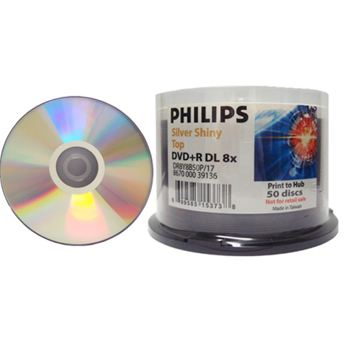 Philips Dupl DVD+R Dual Layer 8x S/S Clear Hub from Am-Dig