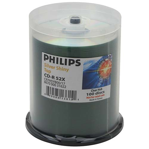 Philips CD-R Silver Shiny Clear Hub in 100 Cakebox from Am-Dig