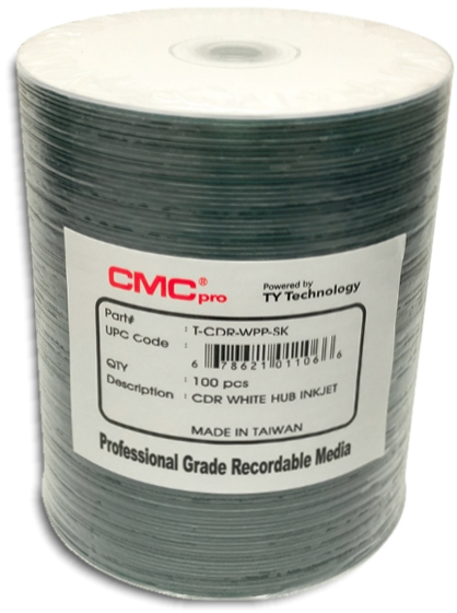 Taiyo Yuden / CMC HubPrintable Inkjet White CDR80 from Am-Dig