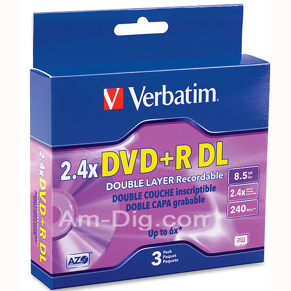 Verbatim 95014: Dual Layer 2.4x - 6x DVD+R in Case from Am-Dig