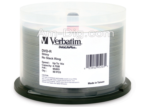 Verbatim 95203 DVD-R 4.7GB 16x Silver Silk Screen from Am-Dig