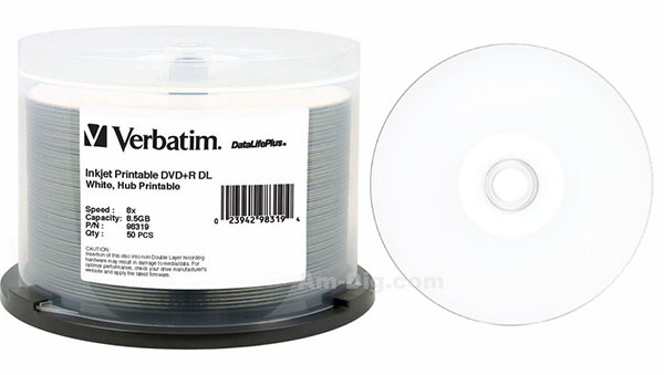 Verbatim 98319: DVD+R DL 8.5GB 8x White IJP 50pk from Am-Dig