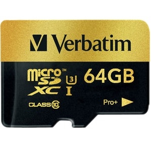 Verbatim 44034 Pro+ Card w/ adapter 64GB microSDXC