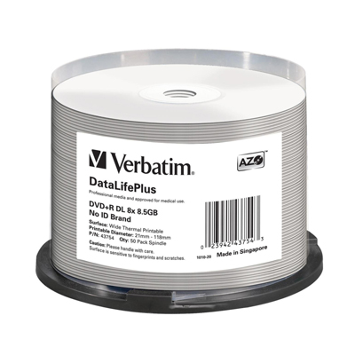 Verbatim 43754 DVD+R DL 8.5GB 8X DataLifePlus White The
