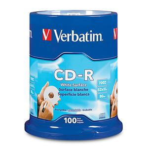 Verbatim 94712 CD-R 700MB 52X Blank White 100pk from Am-Dig
