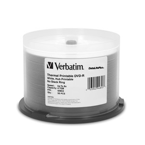 Verbatim 94853 DVD-R 4.7GB 8x White Thermal 50pk
