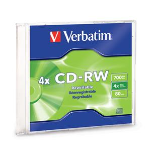 Verbatim 95117 CD-RW 700MB 2x-4x in Slim Case