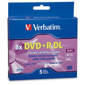 Verbatim 95311 Dual-Layer DVD+R Discs 8.5GB 8x