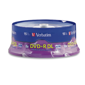 Verbatim 95484 DVD+R DL 8.5GB 2.4x 15pk BRANDED