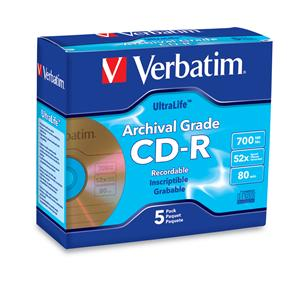 Verbatim 96319 CD-R 700MB 52X Gold Archival 5pk JC