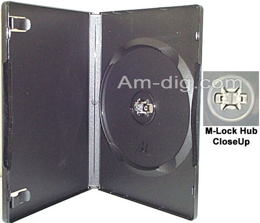 DVD Case - Black Single M-Lock Hub 14mm Spine from Am-Dig