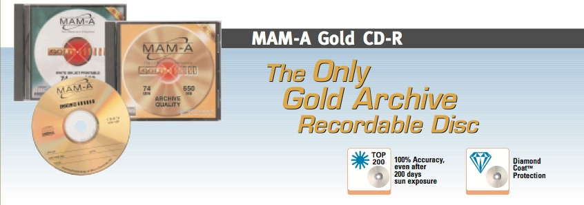 MAM-A Gold - The only gold archive recordable disc